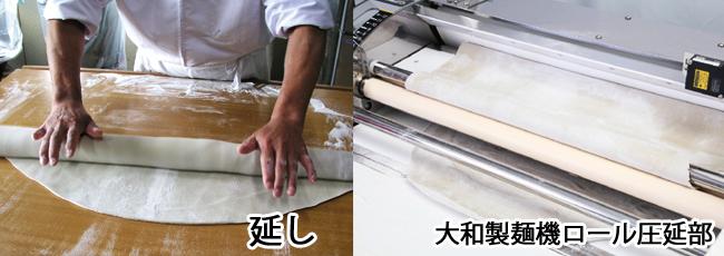 延し作業と蕎麦製麺機圧延ロール